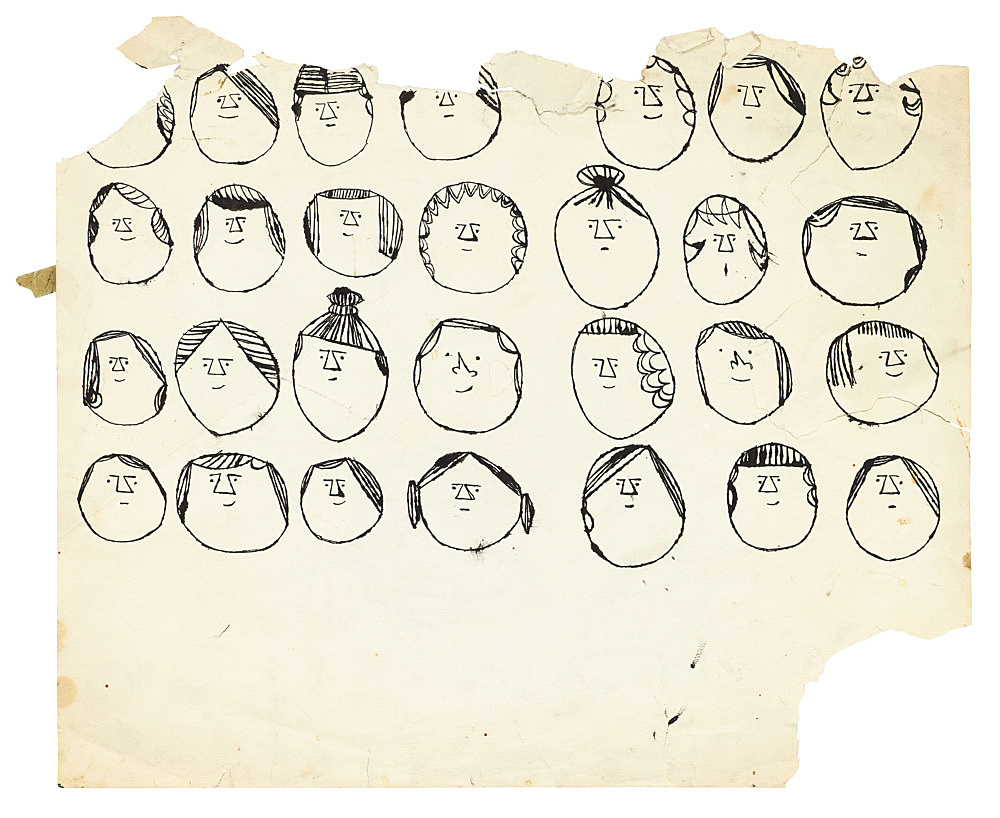 """Andy Warhol – """"Heads"""", ca. 1954 ink on paper 35.4 x 42 cm"""