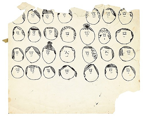 "Andy Warhol – ""Heads"", ca. 1954 ink on paper 35.4 x 42 cm"