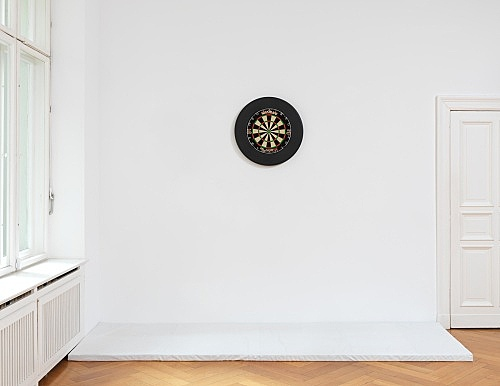 "Anne Imhof – ""Untitled (Imagine)"", 2019 dartboard Ø 68 cm installation view Galerie Buchholz, Berlin 2019"