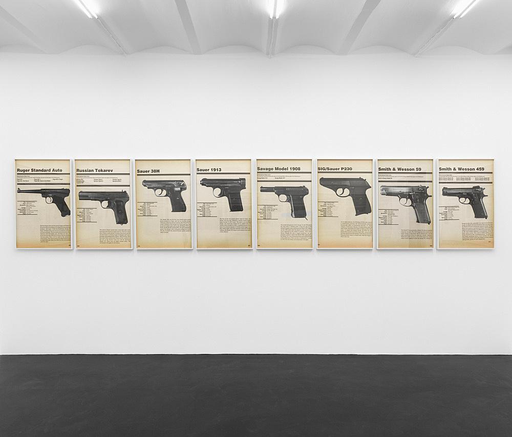 Lutz Bacher – FIREARMS, 2019 digital pigment prints in artist frames 58 parts, each 112,5 x 74 x 5 cm installation view Galerie Buchholz, Köln 2019