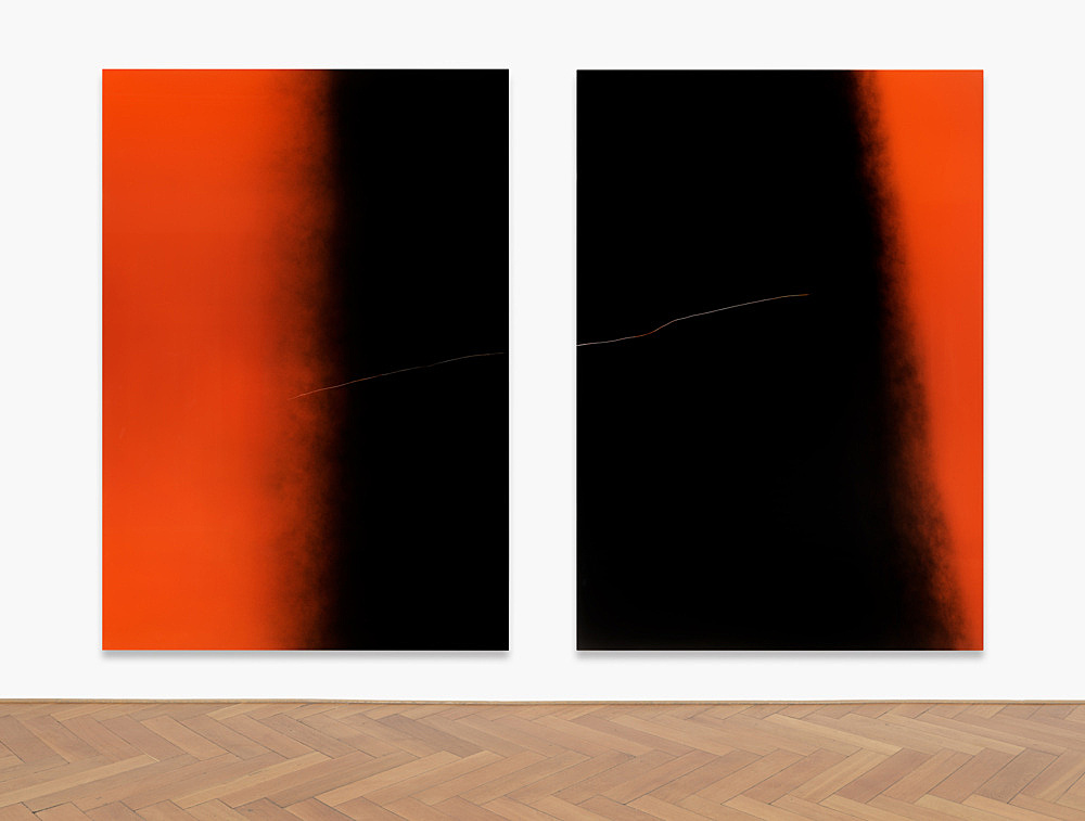 "Anne Imhof – ""Untitled (Imagine)"", 2019 aluminium, acrylic 2 parts, each: 250 x 175 cm installation view Galerie Buchholz, Berlin 2019"