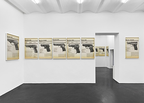 Lutz Bacher – FIREARMS, 2019 digital pigment prints in artist frames 58 parts, each 112,5 x 74 x 5 cm installation view Galerie Buchholz, Köln 2019