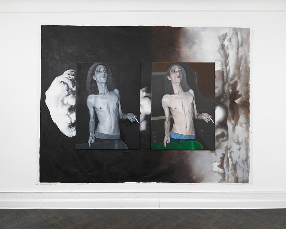 """Anne Imhof – """"Untitled (Imagine)"""", 2019 assemblage of 3 paintings, each oil on canvas overall dimensions 290 x 396 cm installation view Galerie Buchholz, Berlin 2019"""