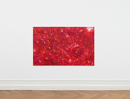 """Jutta Koether – """"Subject is the absolute Unrest of Becoming"""", 1989 oil on canvas 120 x 190 cm installation view Galerie Buchholz, Berlin 2019"""