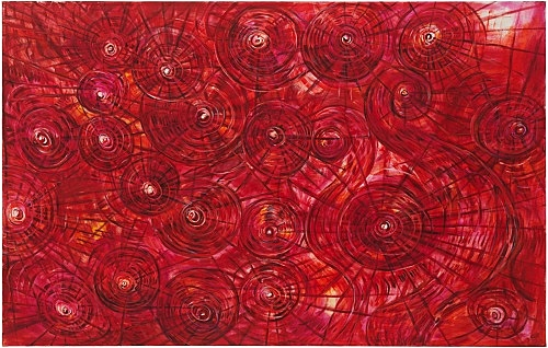 """Jutta Koether – """"Subject is the absolute Unrest of Becoming"""", 1989 oil on canvas 120 x 190 cm"""