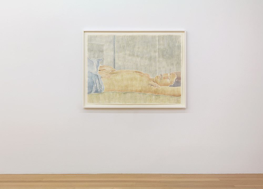 "Monica Majoli – ""Blueboy (Pedro)"", 2019 watercolor woodcut transfer on paper 88.5 x 116 cm installation view Galerie Buchholz, New York 2019"