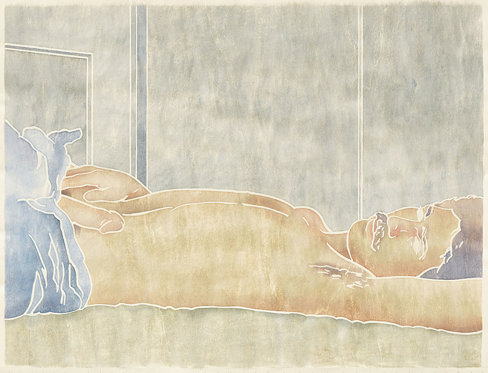 "Monica Majoli – ""Blueboy (Pedro)"", 2019 watercolor woodcut transfer on paper 88.5 x 116 cm"