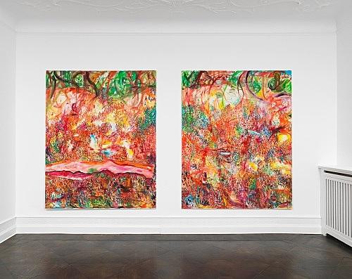 "Jutta Koether – ""Massen"", 1991 oil on canvas 250 x 200 cm & ""Massen"", 1991 oil on canvas 250 x 200 cm installation view Galerie Buchholz, Berlin 2019"