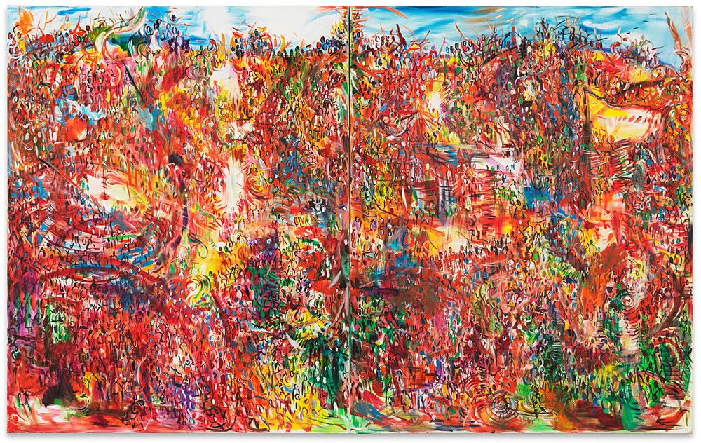 """Jutta Koether – """"Massen"""", 1991 diptych, oil on canvas each 190 x 150 cm"""