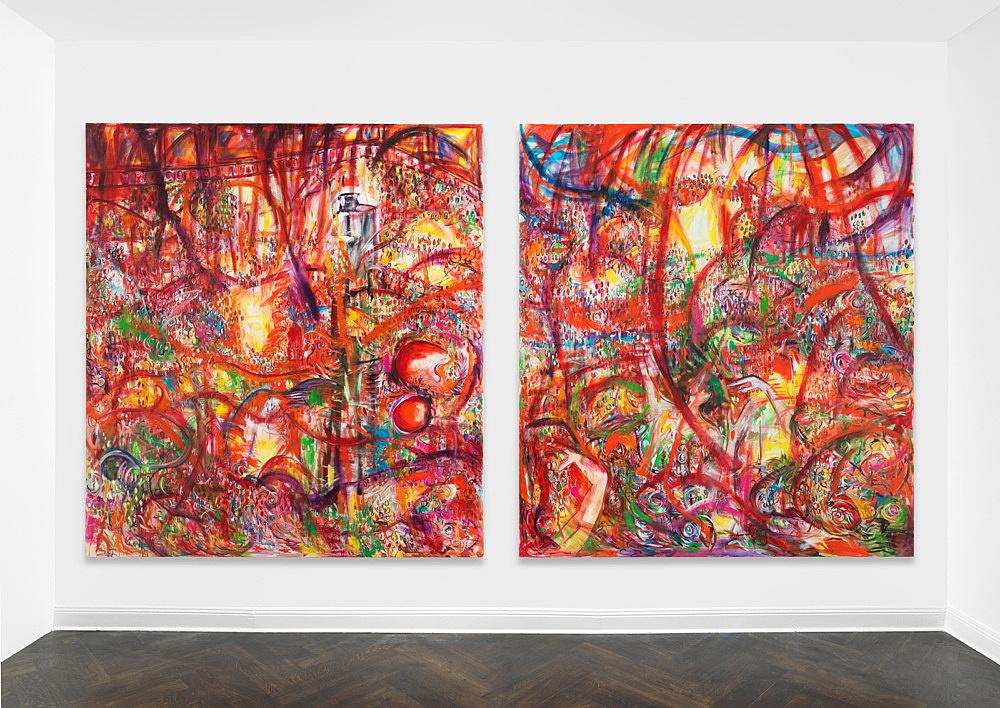 "Jutta Koether – ""Massen"", 1991 oil on canvas 250 x 228 cm & ""Massen"", 1991 oil on canvas 250 x 228 cm installation view Galerie Buchholz, Berlin 2019"