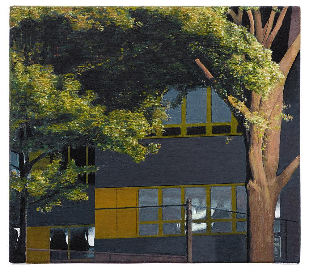 """Caleb Considine – """"High school"""", 2019 oil on canvas 20.5 x 23 cm"""
