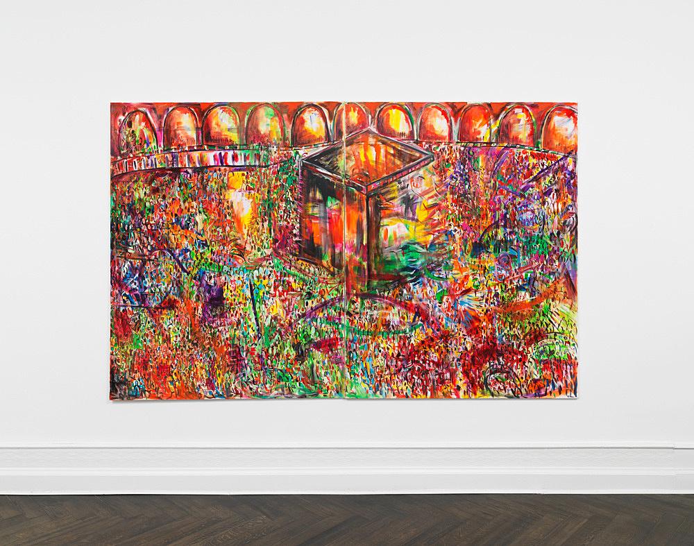 """Jutta Koether – """"Massen"""", 1991 diptych, oil on canvas each 190 x 150 cm installation view Galerie Buchholz, Berlin 2019"""