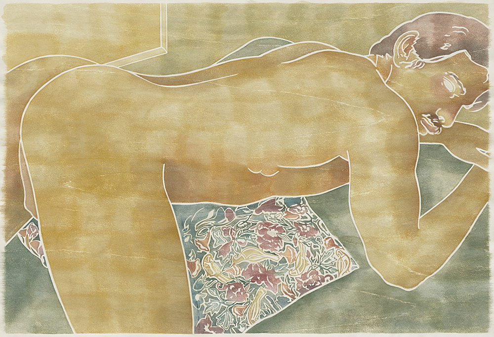 "Monica Majoli – ""Blueboy (Ted)"", 2019 watercolor woodcut transfer on paper 103 x 150.5 cm"
