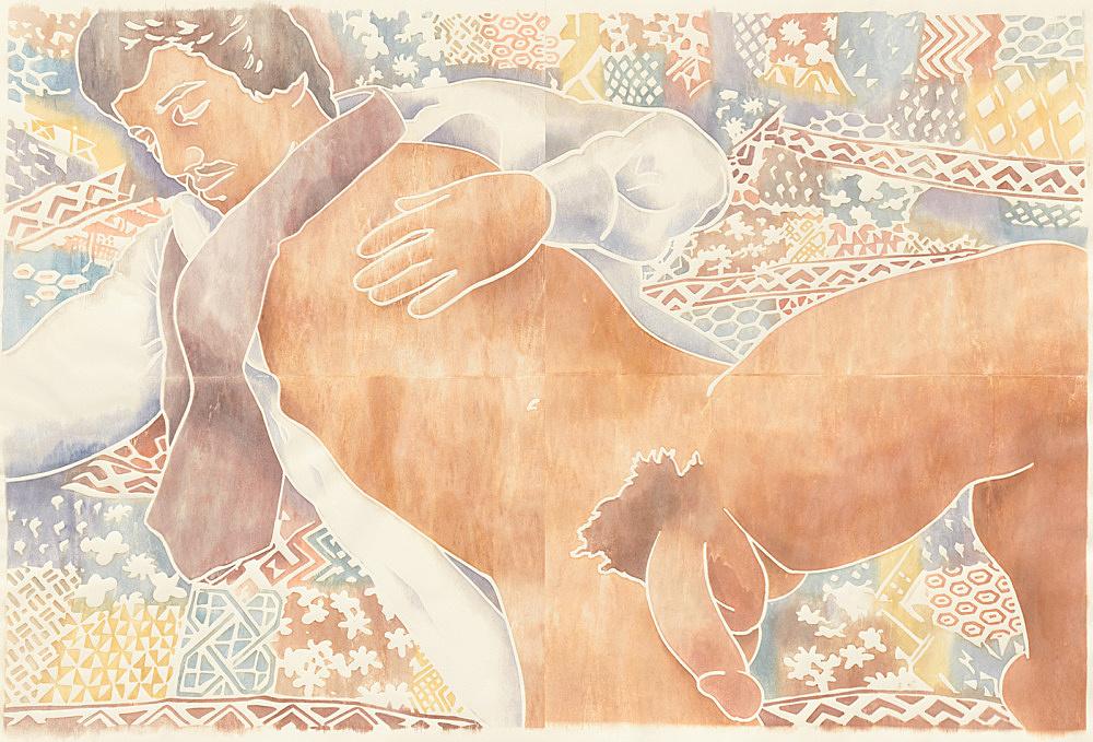 "Monica Majoli – ""Blueboy (Roger)"", 2018 watercolor woodcut transfer on paper 127 x 188 cm"