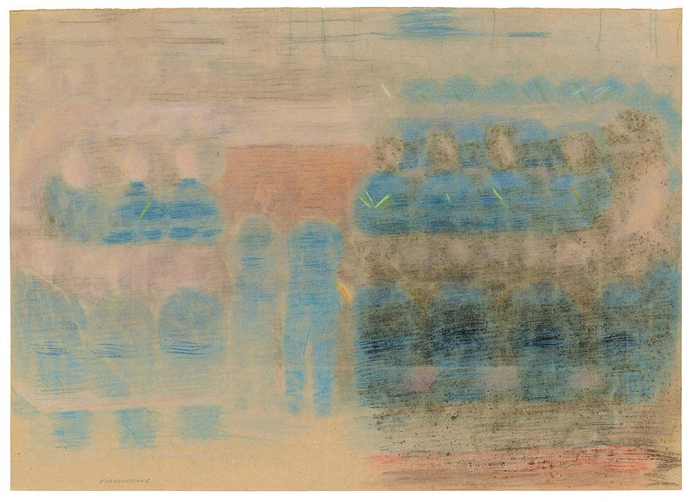 """Otto Meyer-Amden – """"Study for 'Preparation' ('Vorbereitung')"""", ca. 1920-1925 chalk on paper 50.5 x 70.3 cm"""