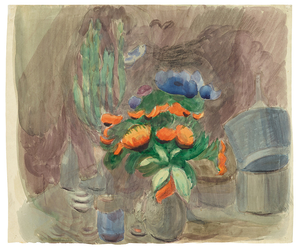 """Otto Meyer-Amden – """"Still life with flowers"""", ca. 1928-1930 watercolor and chalk on paper 34 x 40.5 cm"""
