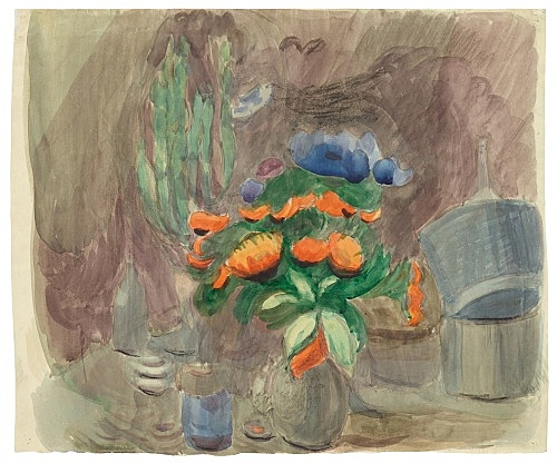 "Otto Meyer-Amden – ""Still life with flowers"", ca. 1928-1930 watercolor and chalk on paper 34 x 40.5 cm"