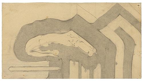 "Otto Meyer-Amden – ""Study of 'Shepherd's Tale'"", ca. 1914-1916 pencil on paper 25.3 x 15.9 cm"