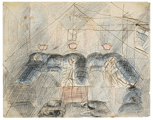 "Otto Meyer-Amden – ""Study of dormitory"", ca. 1918 ink, pencil and coloured pencil on vellum 16.7 x 21.5 cm"