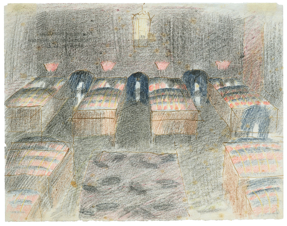 """Otto Meyer-Amden – """"Study of dormitory"""", ca. 1918 ink, pencil and coloured pencil on vellum 16.7 x 21.5 cm"""