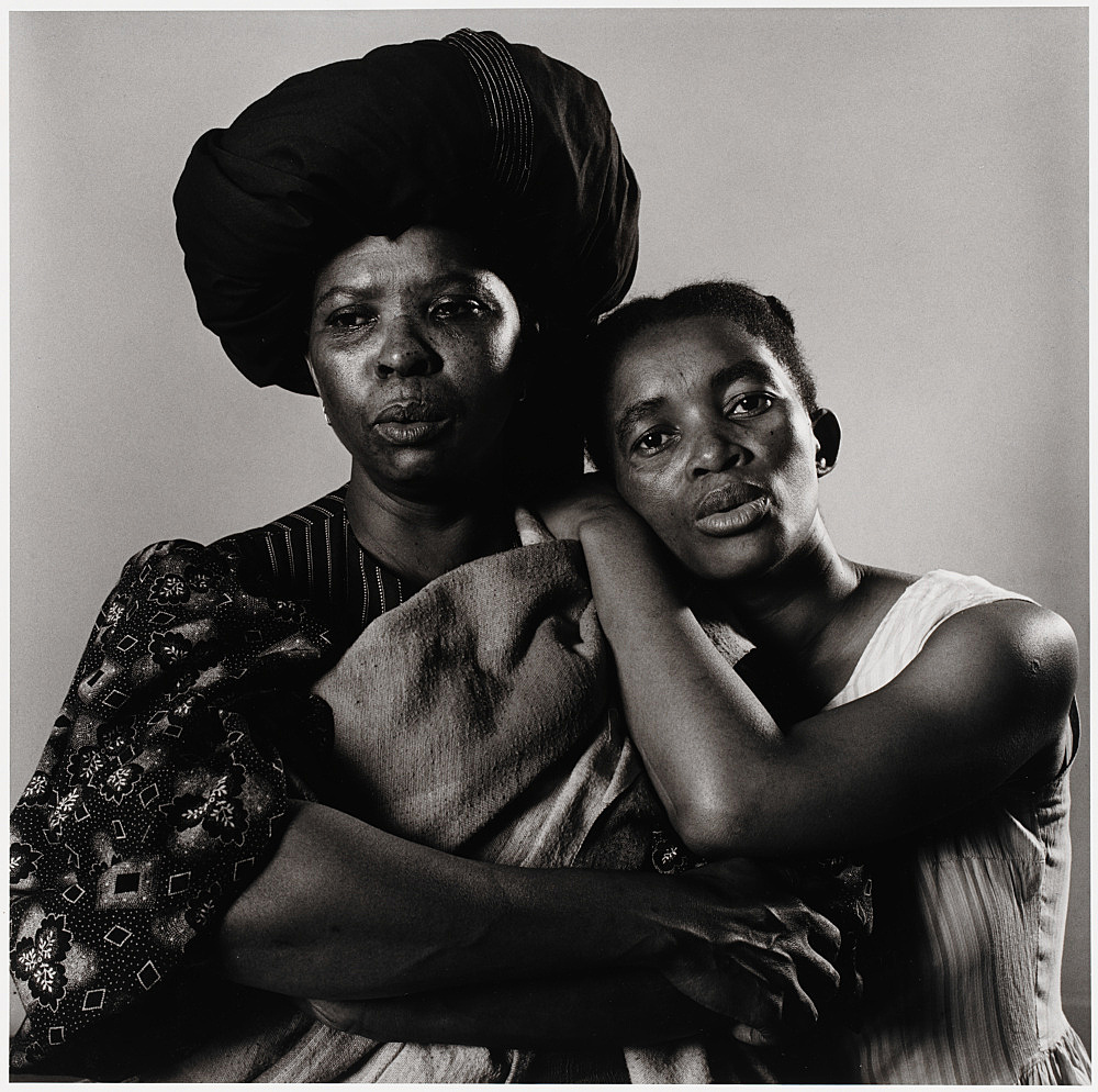 "Peter Hujar – ""Sophie MgCina and Thule Dumakunde – South African Play 'Poppie Nogena'"", 1983 gelatin silver print image 36.8 x 37.5 cm"