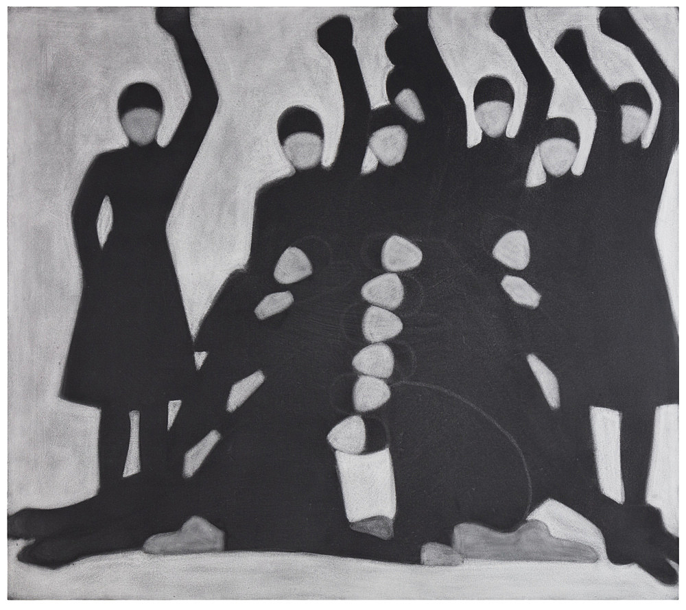 "Silke Otto-Knapp – ""Group (Pyramid)"", 2020 watercolor on canvas 150 x 170 cm"