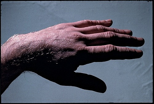 """Peter Hujar – """"Paul Thek With Hand Sculptures"""", 1967 / printed 2011 by Gary Schneider image 31.8 x 47 cm"""