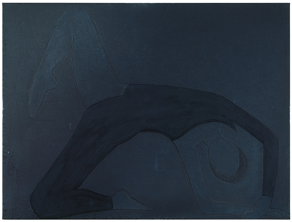 "Silke Otto-Knapp – ""Turning Shadow (blue)"", 2007 watercolour on canvas 60 x 80 cm"