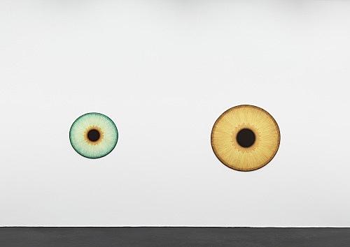 """Ulla Wiggen – """"Iris X"""", 2019 acrylic on panel 73 x 76 cm & """"Iris XIII"""", 2019 acrylic on panel 108 x 114 cm installation view Galerie Buchholz, Köln 2020"""