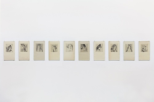 "Marie Laurencin – ""L'Abbesse d'Æéa"", 1921 suite of 10 prints for ""Éventail"" 10 etchings each 19 x 11 cm installation view Galerie Buchholz, New York 2020"