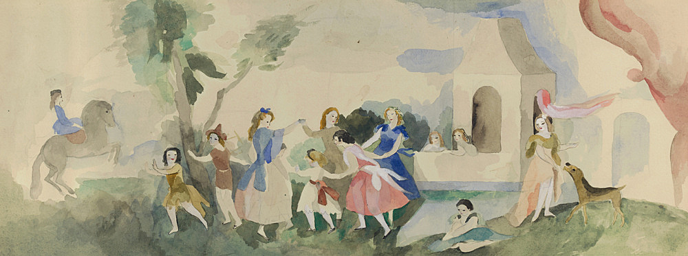 "Marie Laurencin – ""Fête champêtre"", 1928 watercolor on paper 28 x 72.6 cm Musée Marie Laurencin, Tokyo"