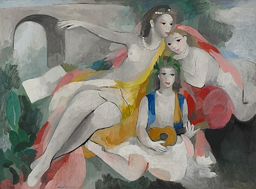 "Marie Laurencin – ""Trois jeunes femmes (Three Young Women)"", c. 1953 oil on canvas 97.3 x 130.3 cm Musée Marie Laurencin, Tokyo"