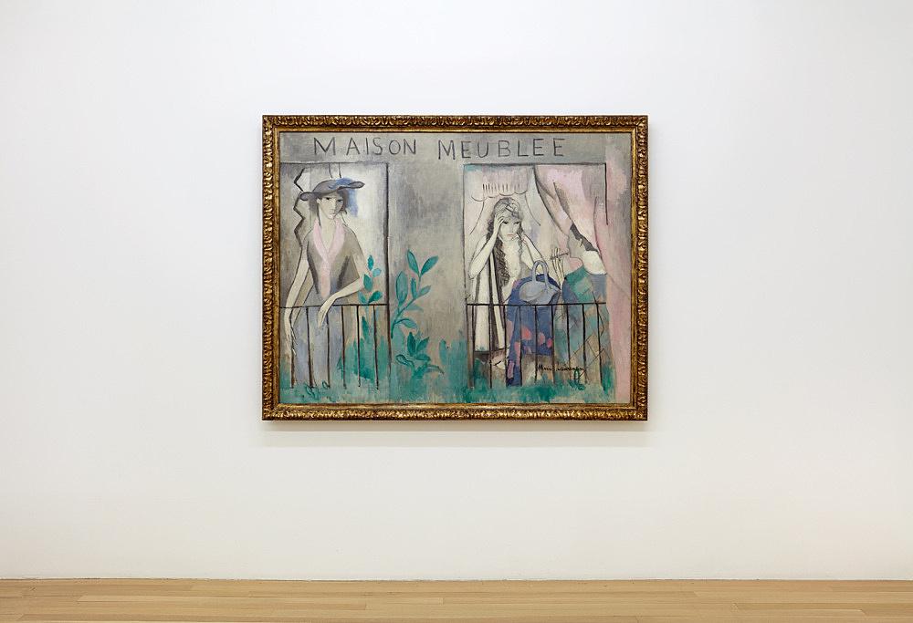 """Marie Laurencin – """"La maison meublée"""", 1912 oil on canvas 112 x 144 cm Musée Marie Laurencin, Tokyo installation view Galerie Buchholz, New York 2020"""