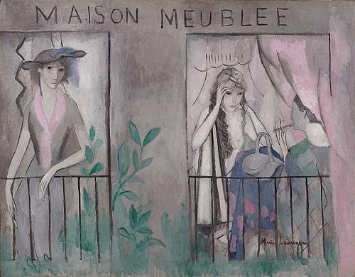 """Marie Laurencin – """"La maison meublée"""", 1912 oil on canvas 112 x 144 cm Musée Marie Laurencin, Tokyo"""