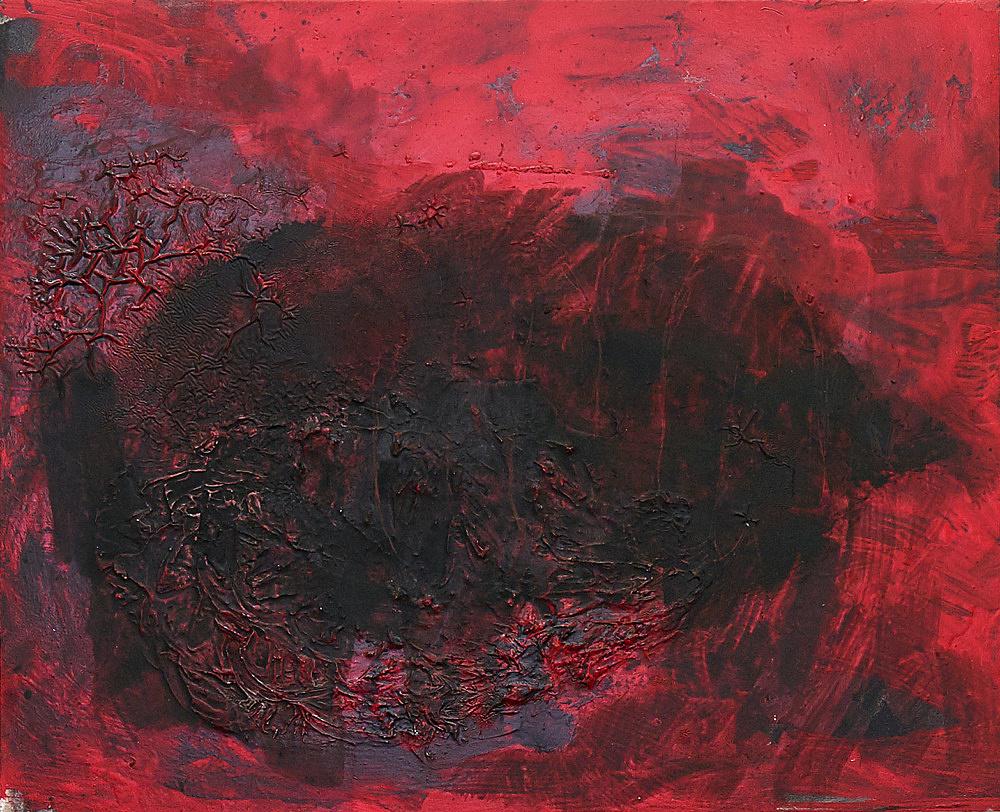 Henrik Olesen – intestine, red, black, 2020 oil and mixed media on wood: 42.5 x 52.5 x 2 cm sticker: 42 x 29.7 cm plug board: 144,5 x 37 x 22 cm detail