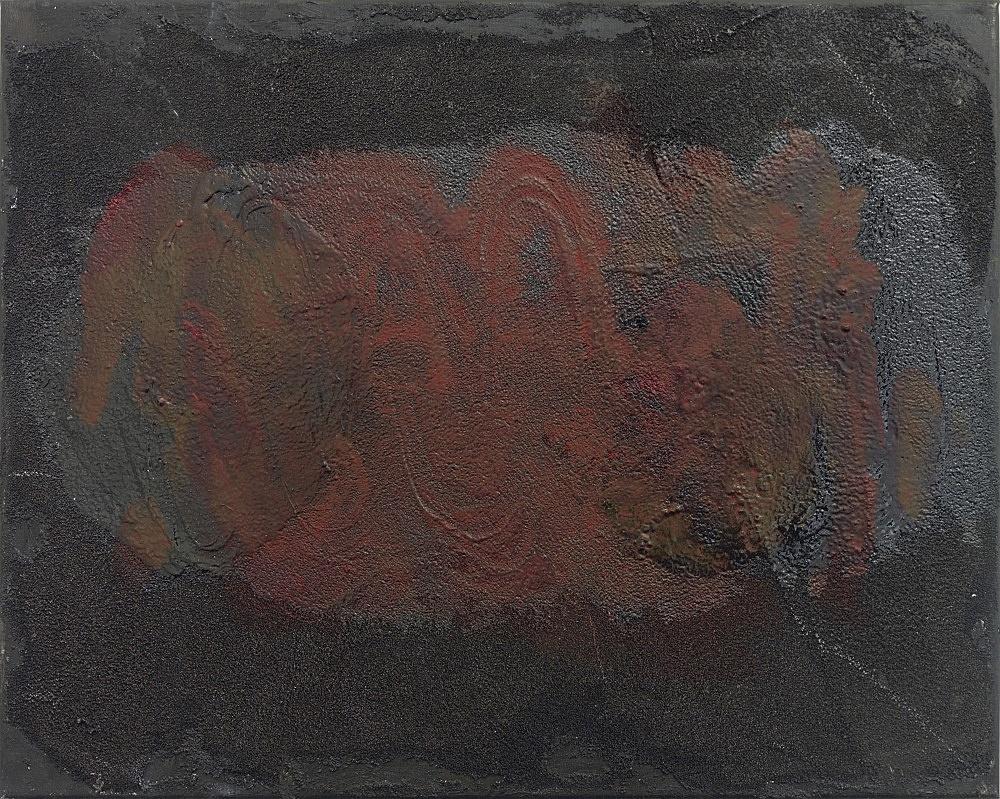 Henrik Olesen – intestine, black, red, horizontal, 2020 oil and mixed media on canvas 40 x 50 x 2 cm