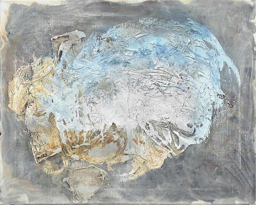 Henrik Olesen – blue insides, 2020 oil and mixed media on canvas: 40 x 50 x 2 cm plug board: 132 x 40 x 32 cm detail