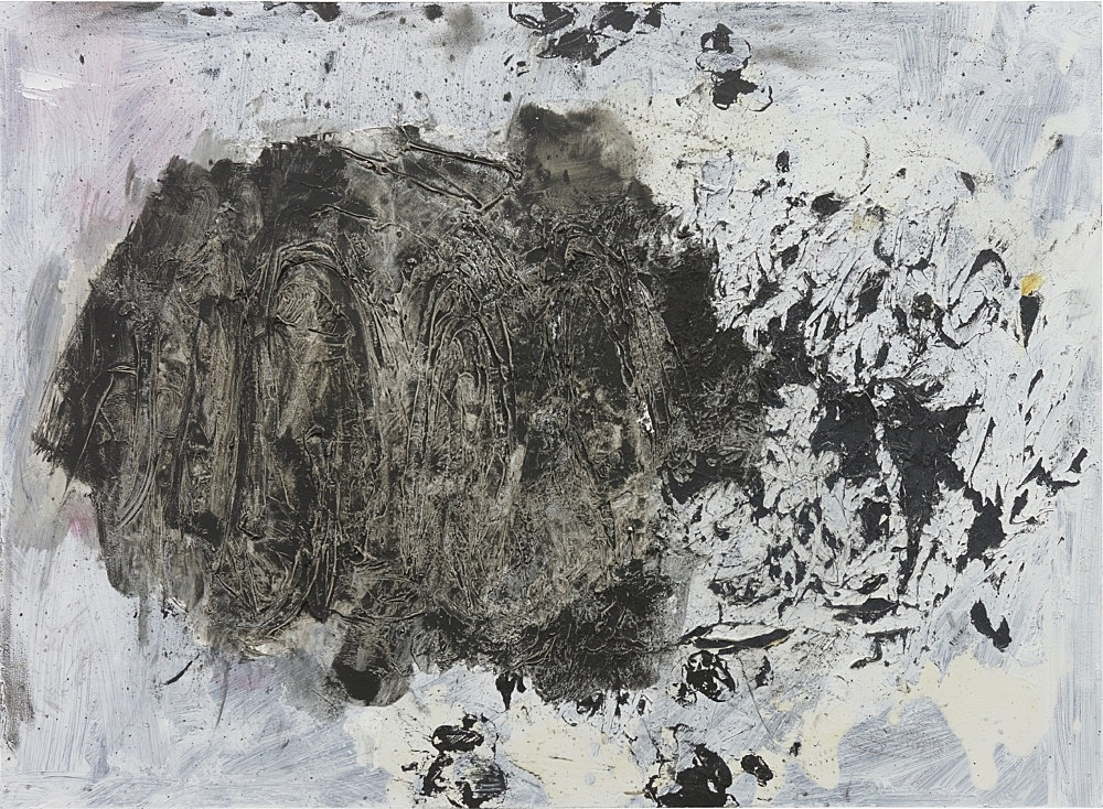 Henrik Olesen – intestine, black and white, 2020 oil and mixed media on wood 40 x 55 x 2 cm