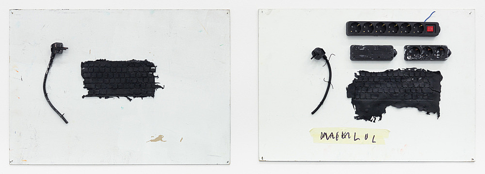 Henrik Olesen – 1.-2. (… ), 2020 two parts silicone, plug, cable on board: 52.5 x 74.5 x 4 cm silicone, plug, plug board, masking tape, felt tip pen on board: 52 x 74.5 x 5 cm