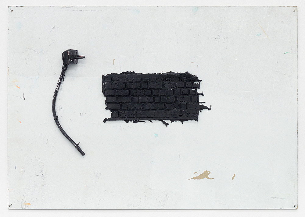 Henrik Olesen – 1.-2. (… ), 2020 two parts silicone, plug, cable on board: 52.5 x 74.5 x 4 cm silicone, plug, plug board, masking tape, felt tip pen on board: 52 x 74.5 x 5 cm detail