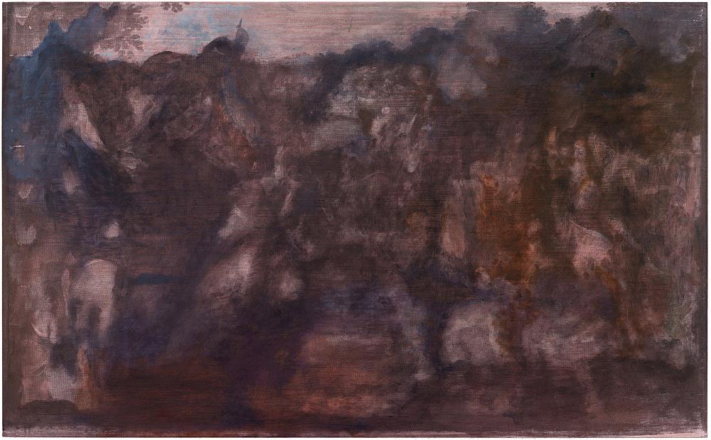 "R.H. Quaytman – ""An Evening, Chapter 32"", 2017-2019 oil, silkscreen ink and gesso on wood 50.8 x 82.2 x 1.9 cm"