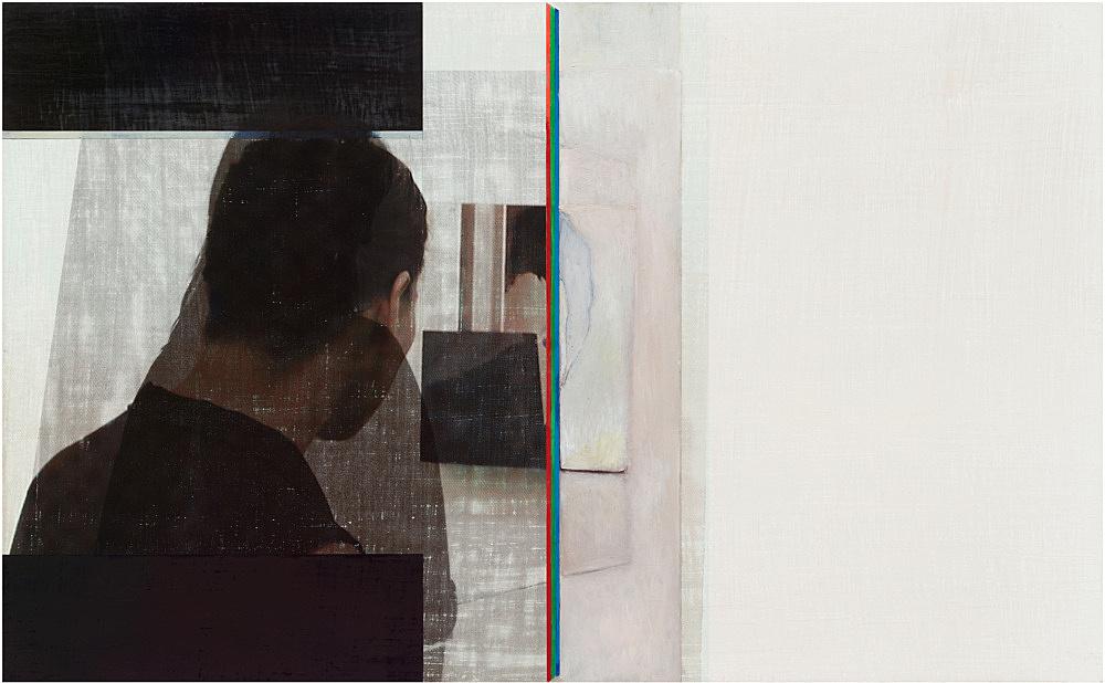 "R.H. Quaytman – ""Spine, Chapter 20 [Fraser, Anastas, Lawler]"", 2010 oil, silkscreen ink and gesso on wood 50.8 x 82.2 x 1.9 cm"