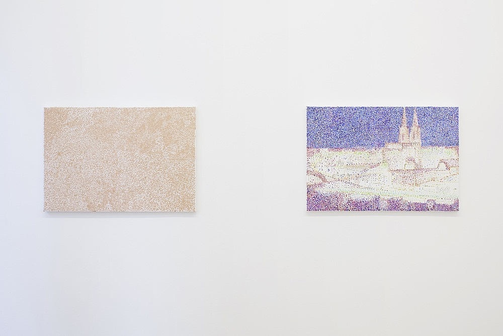 "Reena Spaulings – ""Post Card (Köln am Rhein)"" (II), 2010 Dyptic: acrylic on canvas each 48 x 71 cm Rex Plus – The elctronic watchdog 20 x 15 x 12 cm detail"
