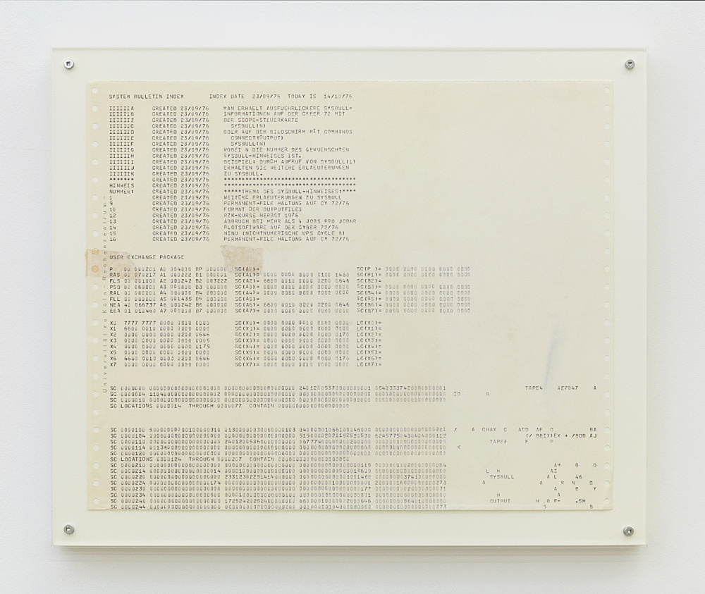 Isa Genzken – Untitled, 1976 computer printout on continuous paper 30.5 x 37.5 cm