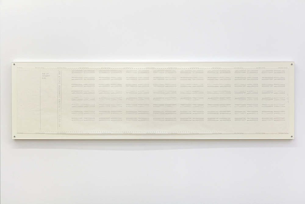 "Isa Genzken – ""JOB E7142 RZEGKKST 08/03/77 13.08.34"", 1977 computer printout on continuous paper 30.5 x 125.1 cm"