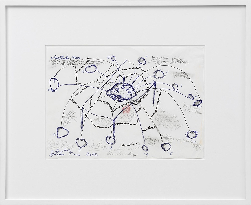 """Josef Strau – """"Drawing for 'The 13 Hour Cymbal Spiderclock'"""", 2020 pencil, ink and felt pen on paper 21 x 29,7 cm framed: 38,6 x 47,2 x 2,8 cm"""