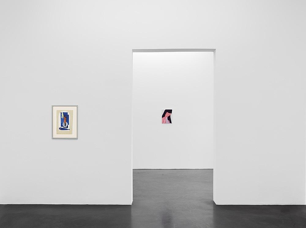 """Lukas Duwenhögger – """"The Birth of Venus"""", 1982-1983 collage on paper in artist's frame 58 x 44 cm  Katharina Wulff """"Die Affäre"""", 2021 gouache on canvas 40,5 x 30 cm  Installation view Galerie Buchholz, Köln 2021"""