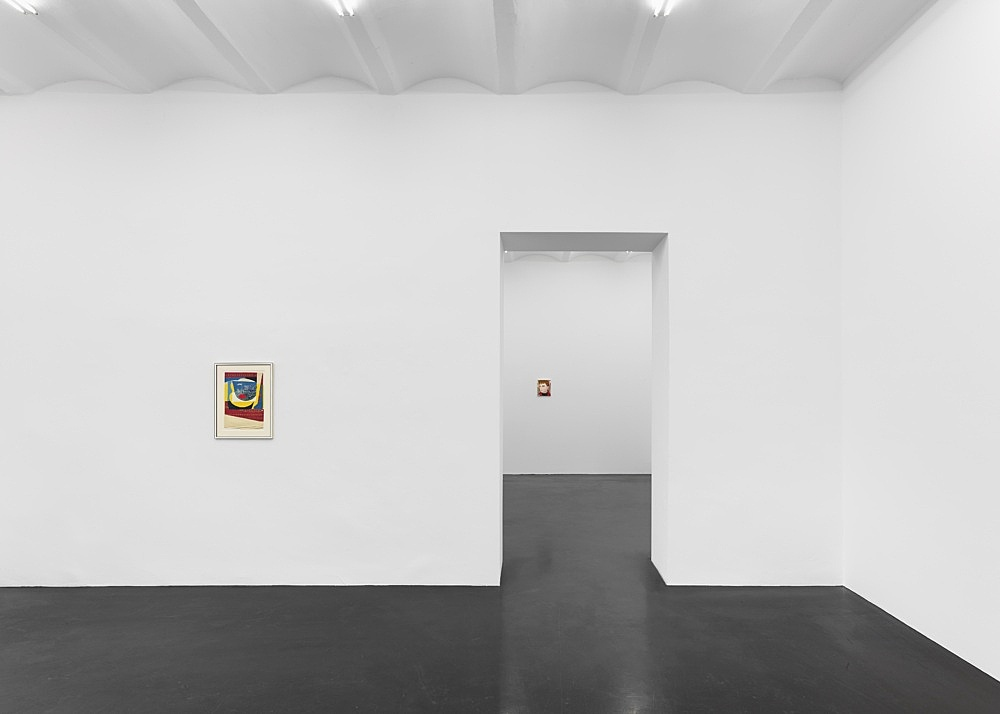 """Lukas Duwenhögger – """"Ancient Trade"""", 1982-1983 collage on paper in artist's frame 58 x 44 cm  Katharina Wulff Untitled, 2021 oil on canvas 28.5 x 23.5 cm  Installation view Galerie Buchholz, Köln 2021"""