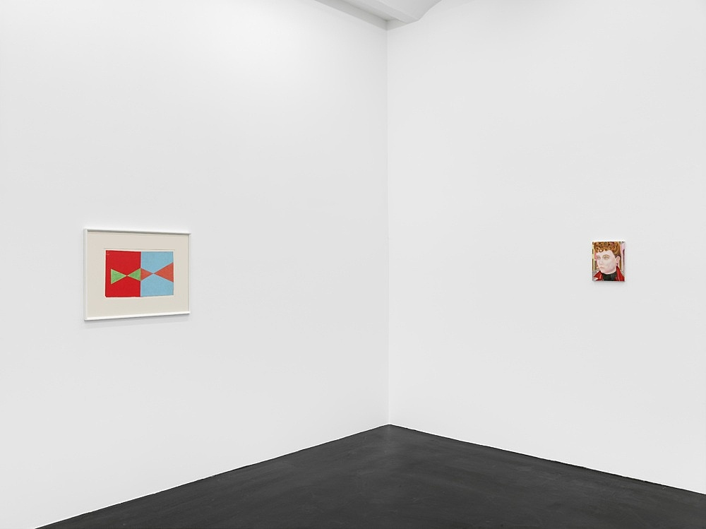 """Katharina Wulff – Untitled, 2021 oil on canvas 28.5 x 23.5 cm  Lukas Duwenhögger """"Diamond Shapes in Advance"""", 1977 gouache and oil pastel on paper in artist's frame 56 x 73,5 cm  Installation view Galerie Buchholz, Köln 2021"""
