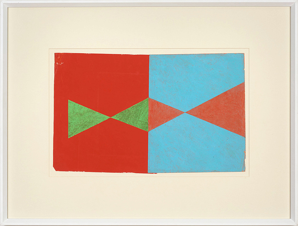 """Lukas Duwenhögger – """"Diamond Shapes in Advance"""", 1977 gouache and oil pastel on paper in artist's frame 56 x 73,5 cm"""